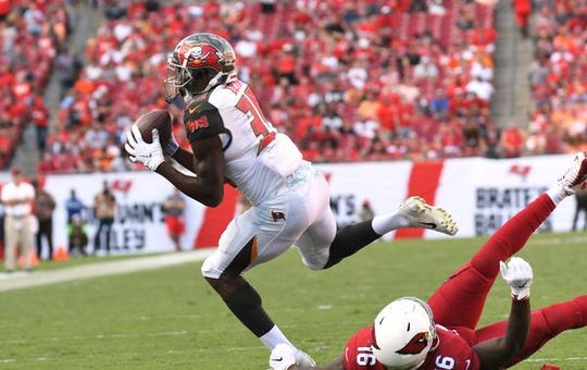Tampa Bay Buccaneers defensive back Jamel Dean (35) of Cocoa intercepts a pass in the second half against the Arizona Cardinals at Raymond James Stadium.