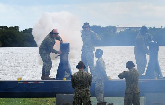 A 21-gun cannon salute by the Naval Ordnance Test Unit (NOTU). Veterans Day 2019 in Merritt Island. The  Brevard Veterans Council and Veterans Memorial Center  presented a Tribute to Veterans, honoring all who have served in the United States military.