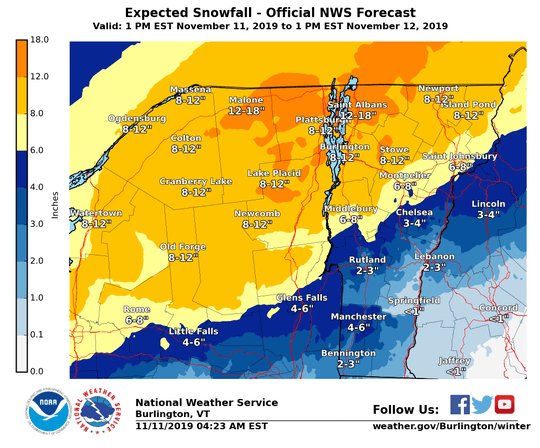 Estimated snowfall for November 11-12 as predicted by National Weather Service Burlington early Monday morning.