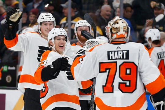 The Flyers have won four straight after beating the Boston Bruins in a shootout Sunday night.
