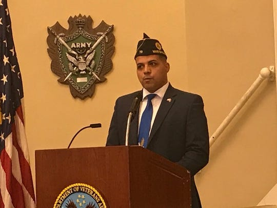 Jermaine Ferguson, a Marine veteran, gives Veterans Day Address on Nov 11, 2019.