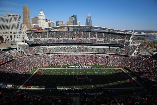 General view looking east of Paul Brown Stadium in the second quarter of a Week 10 NFL game against the Baltimore Ravens, Sunday, Nov. 10, 2019, at Paul Brown Stadium in Cincinnati.