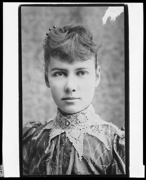 Reporter Nellie Bly, pseudonym of Elizabeth Cochrane Seaman, 1867-1922; head and shoulders, facing left.