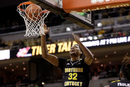 Northern Kentucky's Dantez Walton scores during the first half of the team's NCAA college basketball game against Missouri on Friday, Nov. 8, 2019, in Columbia, Mo.