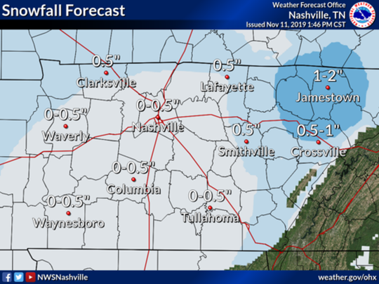 The snowfall forecast for overnight Monday in Middle Tennessee, as of Nov. 11, 2019.