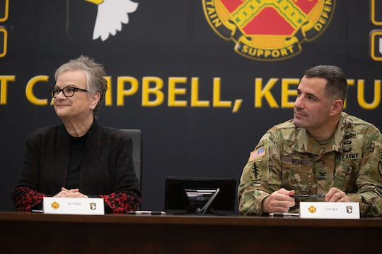 APSU President Alisa White and Col. Jeremy Bell, Fort Campbell garrison commander
