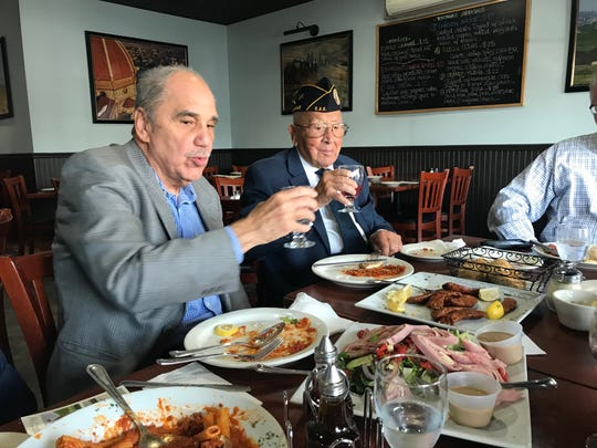 "On Veterans Day, Somerset County Surrogate Frank G. Bruno (left) took three veterans including Louis ""Gene"" Moretti, 102, of Somerville to lunch at Toscanas Pizzeria and Restaurant in Bridgewater. The main focus, Bruno said, was to honor them and listen to their stories."