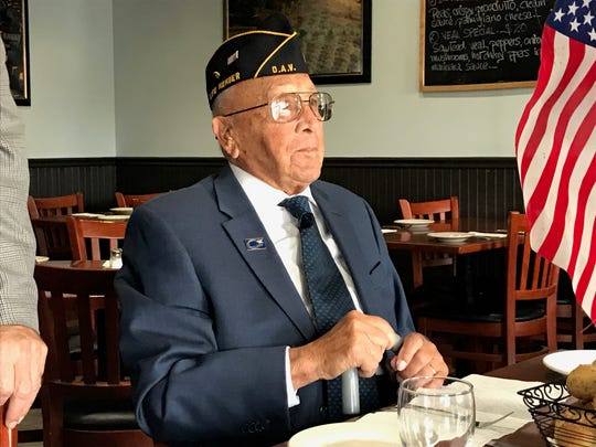 "On Veterans Day, Somerset County Surrogate Frank G. Bruno took three veterans, including Louis ""Gene"" Moretti, 102, of Somerville to lunch at Toscanas Pizzeria and Restaurant in Bridgewater. The main focus, Bruno said, was to honor them and listen to their stories."
