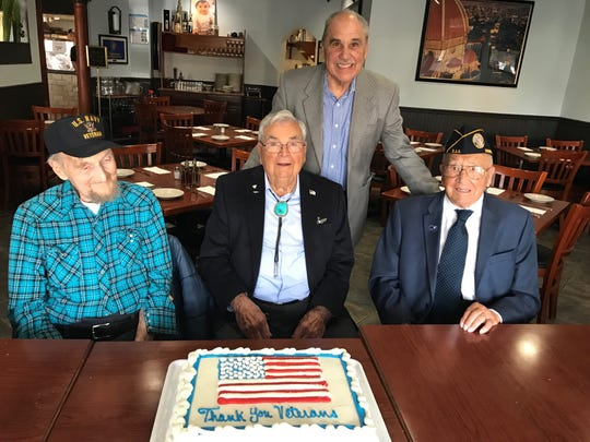 "On Veterans Day, Somerset County Surrogate Frank G. Bruno took veterans George McNichol, 101, of Bridgewater (left to right), Thomas R. ""Bob"" Vaucher, 100, of Bridgewater and Louis ""Gene"" Moretti, 102, of Somerville to lunch at Toscanas Pizzeria and Restaurant in Bridgewater. The main focus, Bruno said, was to honor them and listen to their stories."