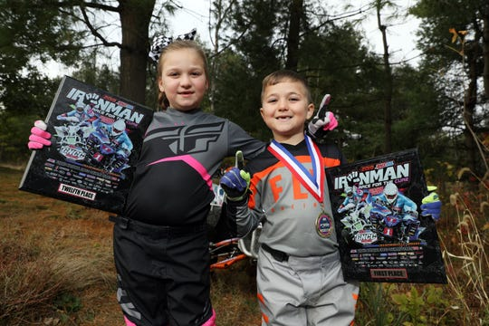 Bryson Dickerson, 6, recently placed first for the season in the Micro-Senior class of the 2019 Grand National Cross Country (GNCC) national competition for ages 6 to 7. His sister Raelynn, 8, placed eighth.