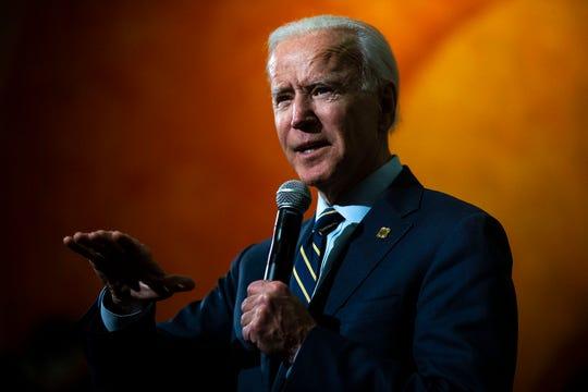 Former Vice President Joe Biden campaigns on Monday, Nov. 11, 2019, at William Penn University in Oskaloosa.