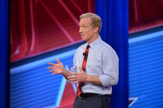 Businessman Tom Steyer speaks during Sunday's CNN town hall at Grinnell College.