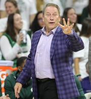 Michigan State Spartans head coach Tom Izzo on the bench Sunday, November 10, 2019 at the Breslin Center in East Lansing, Mich.