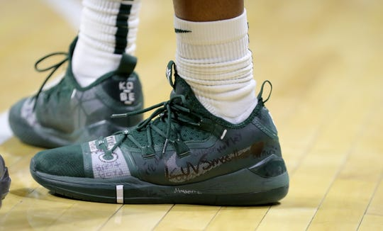 """Michigan State guard Cassius Winston played the game with his brother Zachary Winston's nickname """"Smoothie"""" on his sneaker Sunday, Nov. 10, 2019 at the Breslin Center. Zachary died one day earlier."""