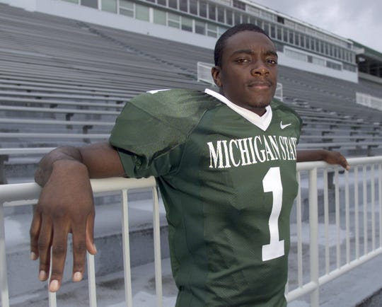 Michigan State wide receiver Charles Rogers on Sunday, Aug. 19, 2001, in East Lansing.