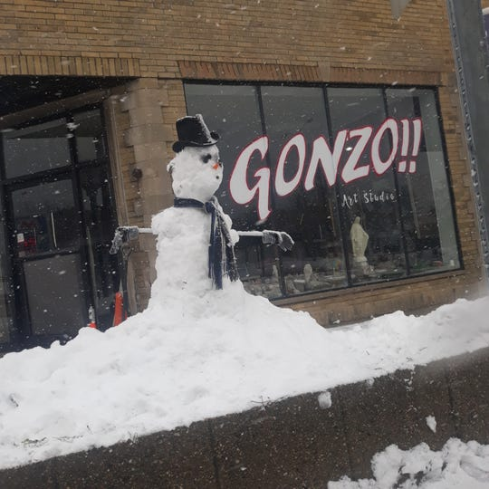 A snowman Stross and a temporary shelter resident built on Nov. 11, 2019.