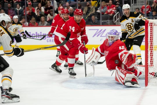 Bruins right wing David Pastrnak has a shot blocked by Red Wings goaltender Jonathan Bernier in the second period last week in Detroit.