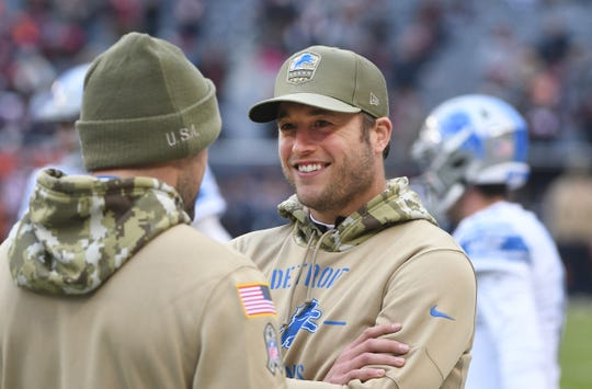 Injured Lions quarterback Matthew Stafford missed Sunday's game against the Bears.