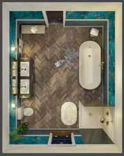 New bathroom from Clue game, inspired by a real-life design.