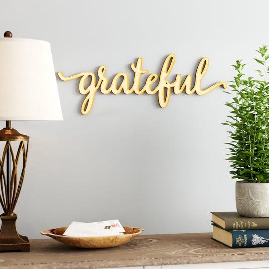 Rustic Grateful Wood Wall Decor