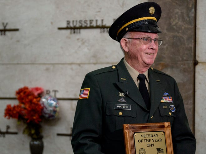 "Vietnam Veteran David L. Waters, who served as a United States Army staff sergeant, smiles while being interviewed about receiving the 2019 Veteran of the Year award at a Veterans Day program held inside Chapel 1 at Oak Hill Cemetery in Evansville, Monday afternoon, Nov. 11, 2019. ""Being honored by fellow veterans is an unbelievable honor,"" Waters said."