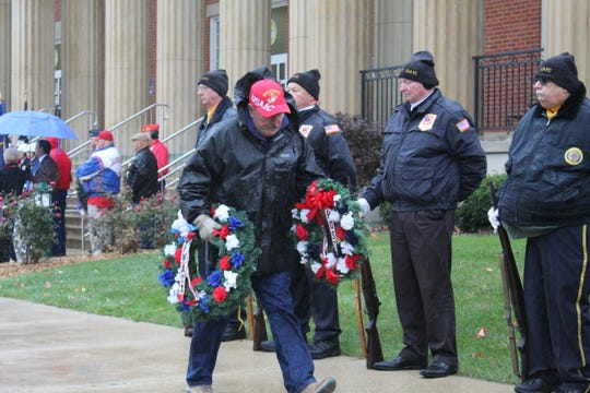 Wreaths were laid at the Sandusky County Courthouse Monday to honor veterans.