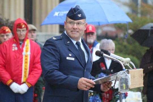 Michael Hrynciw, 200th Red Horse Squadron commander at Camp Perry, honors veterans Monday during a Veterans Day ceremony at the Sandusky County Courthouse.