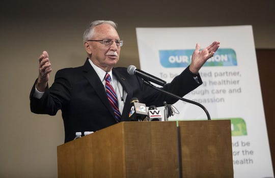 Fred Franks, a retired four-star general who has been named the honorary director of Home Base Southwest Florida, speaks at an event announcing a program that will provide free mental health care to veterans and military families.