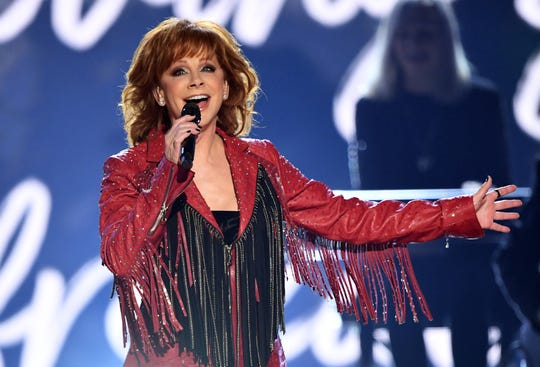 Reba McEntire performs during the 54th Academy of Country Music Awards April 7, 2019, in Las Vegas.