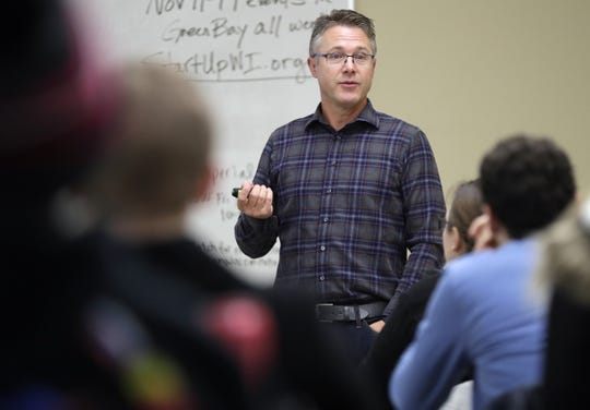Aaron Kennedy, founder of Noodles & Company and TitletownTech's entrepreneur-in-residence, speaks about his start-up experiences as part of YP Week on Nov. 11, 2019, at the University of Wisconsin-Green Bay.