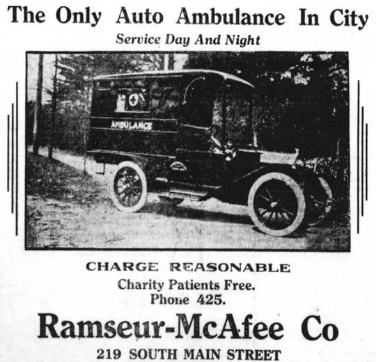 Ramseur -McAfee (soon to be Thomas McAfee Funeral Home) had the first and only ambulance in the city and later a fleet of eight ambulances.