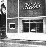 "Hale's Jewelers refurbished its famous clock and ""slipcovered"" with aluminum siding the front of its Main Street store in the 1960s to help modernize downtown Greenville."