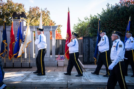 The James F. Daniel Jr. Post #3 American Legion Color Guard presents colors at the Salute to Veterans ceremony sponsored by the Upstate Warrior Solution and held at Greenville County Square Monday, November 11, 2019.