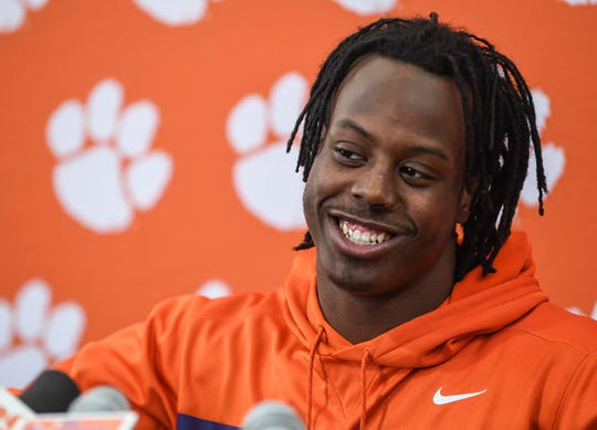 Clemson running back Travis Etienne talks with media in the Poe Indoor Facility in Clemson Monday.
