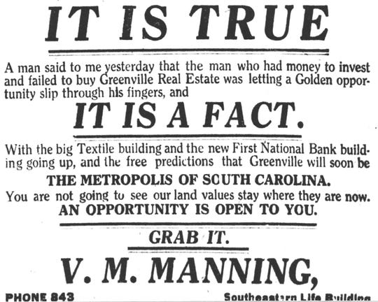 V. M. Manning foresaw Greenville's future prosperity in 1917 when Textile Hall was being built on West Washington Street and the Beatties were constructing a new home for the First National Bank at the corner of West McBee and South Main.