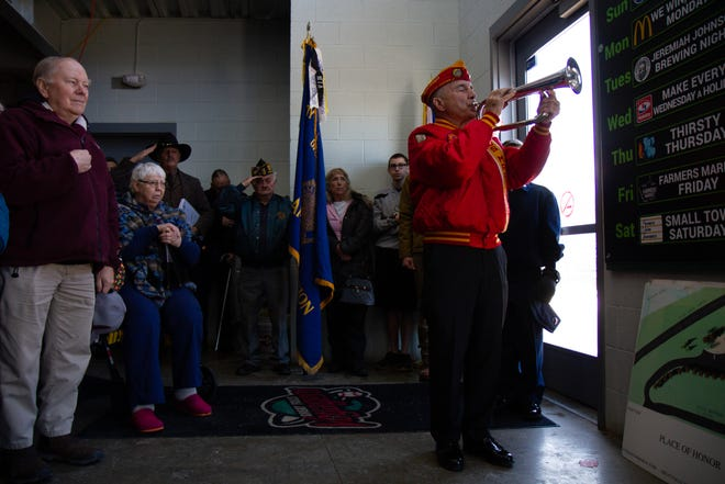 """Bill Hunter performs """"taps"""" to bring the 14th annual Veterans Day Ceremony to a close."""