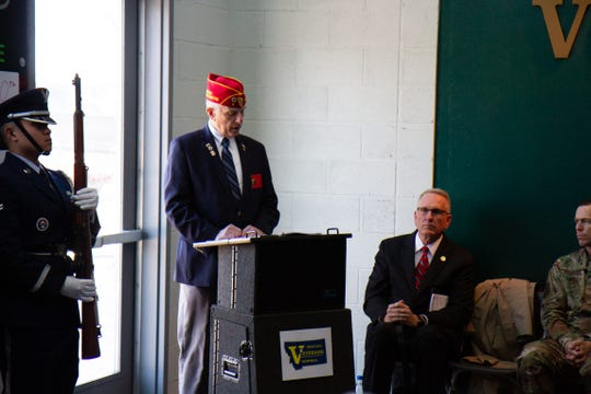 David Driver, national executive committeeman for the American Legion, provides Veterans Day Ceremony attendees an overview of the variety of ways the organization supports veterans since its inception a century ago.