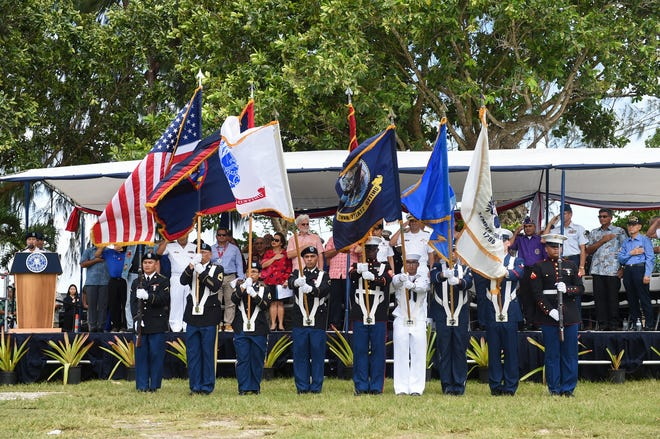 The Joint Color Guard presents the posting of the colors during the Veterans Day Ceremony at Gov. Joseph Flores Memorial Park, Tumon, Nov. 11, 2019.