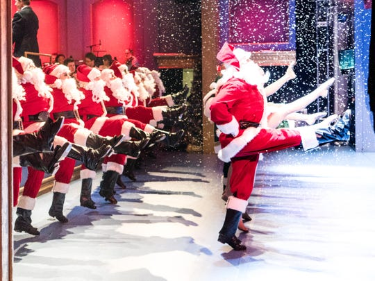 Whimsical holiday acts like Santas in a chorus line will be fun for the whole family to watch.