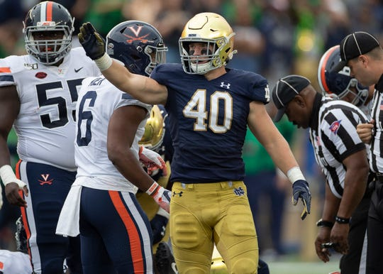 Notre Dame Fighting Irish linebacker Drew White (40) reacts to a play in action during a game between the Notre Dame Fighting Irish and the Virginia Cavaliers on September 28, 2019 at Notre Dame Stadium in South Bend, IN.