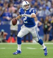Indianapolis Colts quarterback Brian Hoyer (2), Miami Dolphins at Indianapolis Colts, Sunday, Nov. 10, 2019.