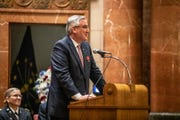 Indiana Governor Eric Holcomb speaks during the 2019 Indianapolis Veterans Day Service, held at the Indiana War Memorial on Monday, Nov. 11, 2019. The service was moved inside due to inclement weather.