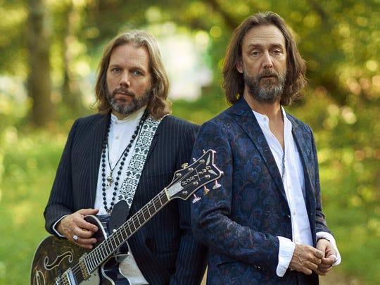 "Guitarist Rich Robinson, left, and vocalist Chris Robinson will bring the Black Crowes' ""Shake Your Money Maker"" 30th anniversary tour to Ruoff Home Mortgage Music Center."