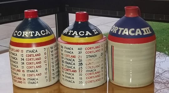 The three Cortaca Jugs holding the results of all the previous games played.