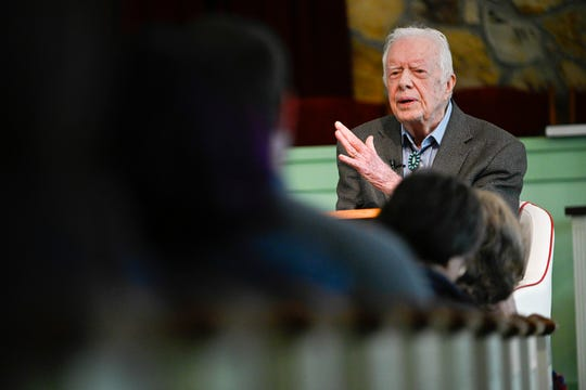 In this Sunday, Nov. 3 photo, former President Jimmy Carter teaches Sunday school at Maranatha Baptist Church, in Plains, Ga. Nearly four decades after he left office and despite a body that's failing after 95 years, the nation's oldest-ever ex-president still teaches Sunday school roughly twice monthly at the church.