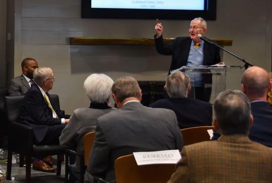 U.S. Sen. Lamar Alexander speaks at the Ayers foundation headquarters at Parson, Tenn., Friday, Nov. 8, 2019.