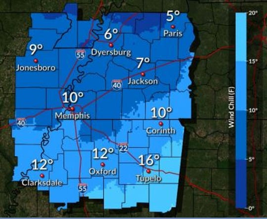 Windchill Tuesday morning is expected to cause single-digit temperatures throughout most of West Tennessee, according to the National Weather Service.