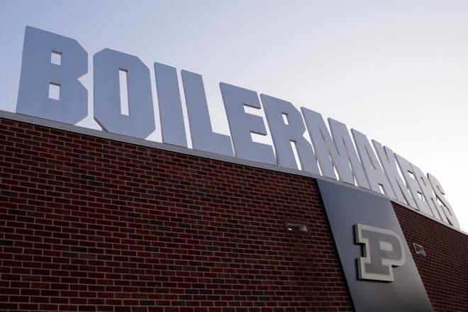 A Boilermakers sign hangs above the north entrance to Ross-Ade Stadium in West Lafayette.