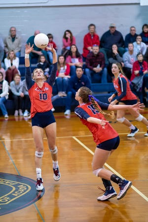 Notre Dame's setter Sydnie Dailey (10) will play a vital role in the Lady Pios' success at the state volleyball tournament.