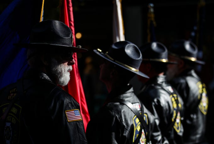Vietnam Vet Otis Phelps with VFW 1170 waits for the start of the 2019 Veterans Day parade Monday morning in downtown Louisville.